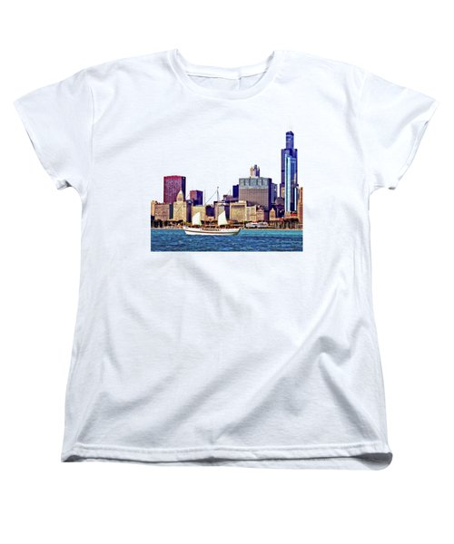 Chicago Il - Schooner Against Chicago Skyline Women's T-Shirt (Standard Cut) by Susan Savad