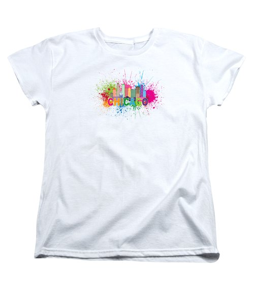 Chicago Skyline Paint Splatter Text Illustration Women's T-Shirt (Standard Cut) by Jit Lim