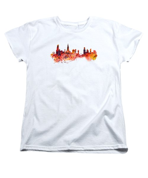 Chicago Watercolor Skyline Women's T-Shirt (Standard Cut) by Marian Voicu