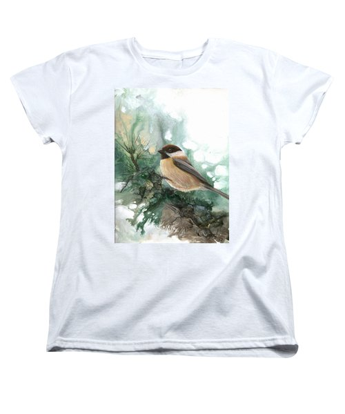 Women's T-Shirt (Standard Cut) featuring the painting Chickadee by Sherry Shipley