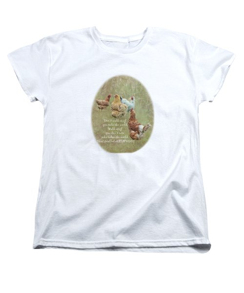 Chickens With Attitude On A Transparent Background Women's T-Shirt (Standard Cut) by Terri Waters