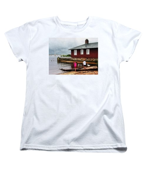 Women's T-Shirt (Standard Cut) featuring the photograph Children Playing At Harbor Essex Ct by Susan Savad