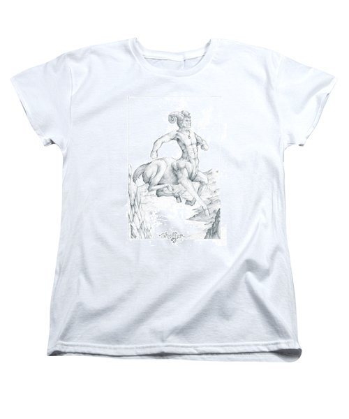 Women's T-Shirt (Standard Cut) featuring the drawing Chiron The Centaur by Curtiss Shaffer