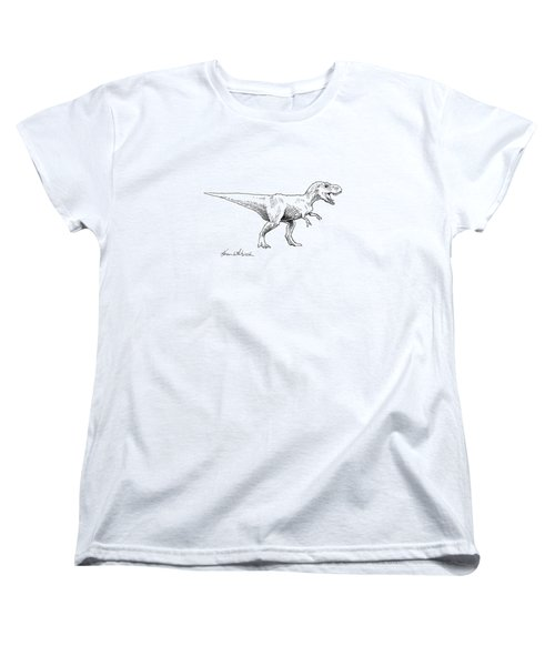 Women's T-Shirt (Standard Cut) featuring the drawing Tyrannosaurus Rex Dinosaur T-rex Ink Drawing Illustration by Karen Whitworth
