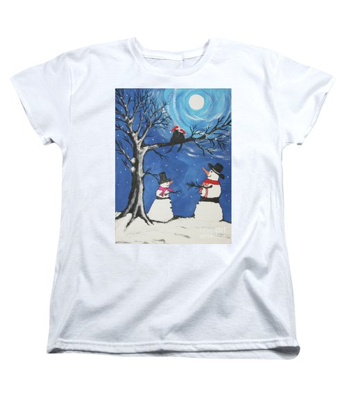 Christmas Cats In Love Women's T-Shirt (Standard Cut) by Jeffrey Koss