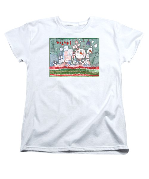 Christmas On The Edge Women's T-Shirt (Standard Cut) by Sandra Church