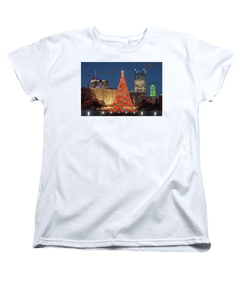 Women's T-Shirt (Standard Cut) featuring the photograph Christmas  Season In Pittsburgh  by Emmanuel Panagiotakis