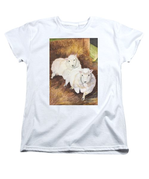 Christmas Sheep Women's T-Shirt (Standard Cut) by Lucia Grilletto