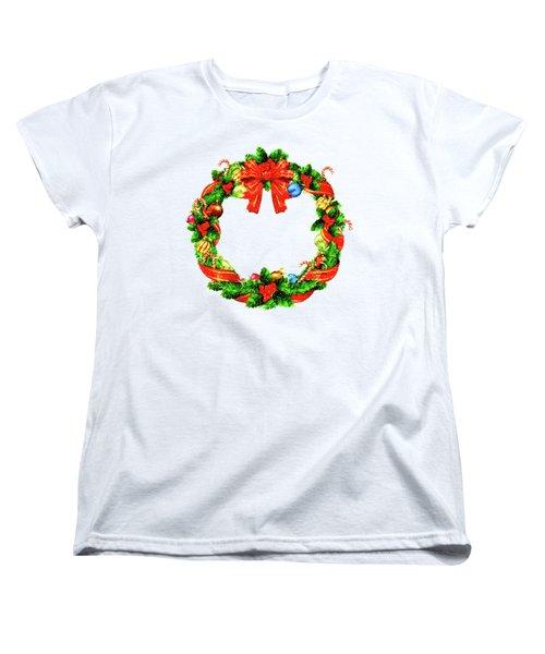 Christmas Wreath Women's T-Shirt (Standard Cut) by Rafael Salazar