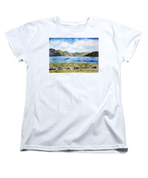 Women's T-Shirt (Standard Cut) featuring the painting Chrystal Lake  Barton Vt  by Donna Walsh