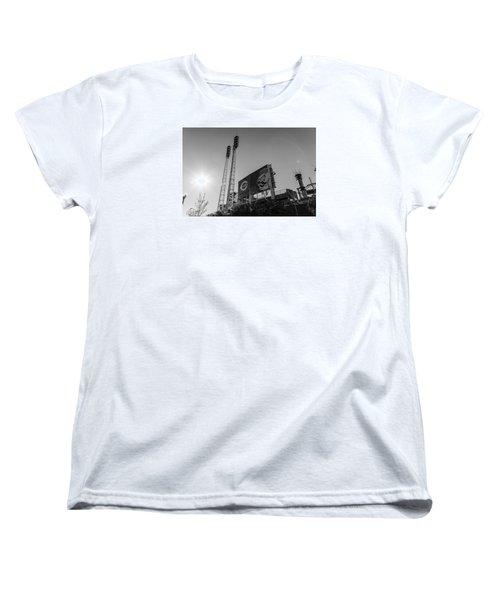 Cincinnati Reds Riverfront Stadium Black And White  Women's T-Shirt (Standard Cut) by John McGraw