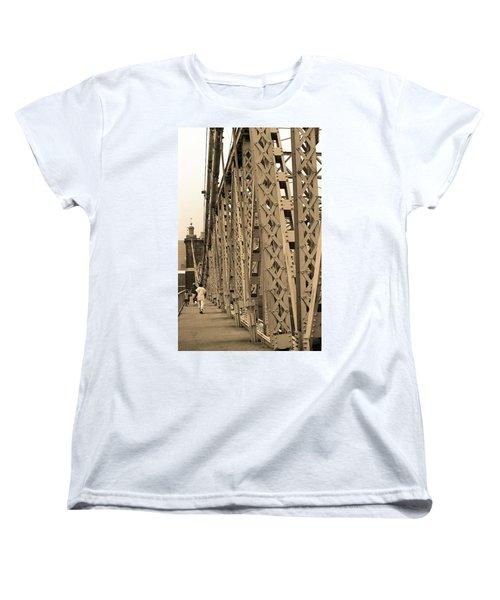 Cincinnati - Roebling Bridge 3 Sepia Women's T-Shirt (Standard Cut) by Frank Romeo