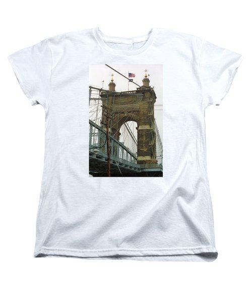 Cincinnati - Roebling Bridge 4 Women's T-Shirt (Standard Cut) by Frank Romeo