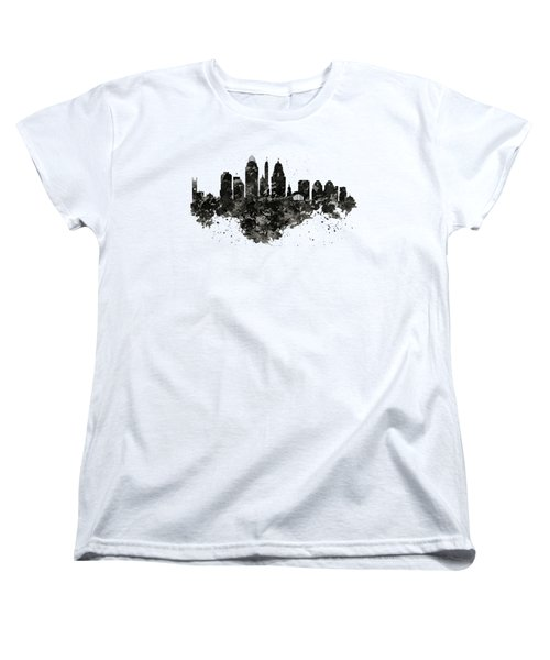 Women's T-Shirt (Standard Cut) featuring the mixed media Cincinnati Skyline Black And White by Marian Voicu