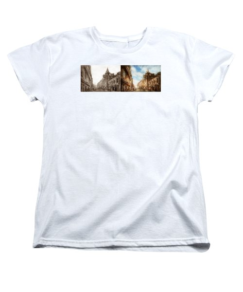 Women's T-Shirt (Standard Cut) featuring the photograph City - Scotland - Tolbooth Operator 1865 - Side By Side by Mike Savad