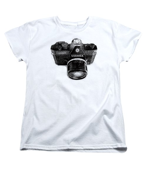 Women's T-Shirt (Standard Cut) featuring the drawing Classic Yashica Slr Film Camera by Edward Fielding
