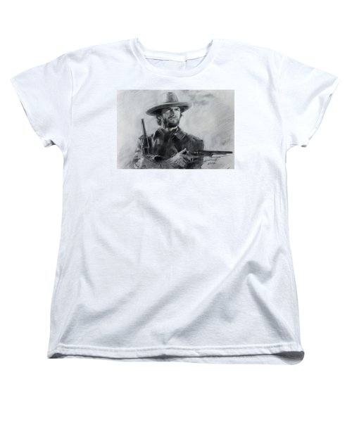 Women's T-Shirt (Standard Cut) featuring the drawing Clint Eastwood by Viola El