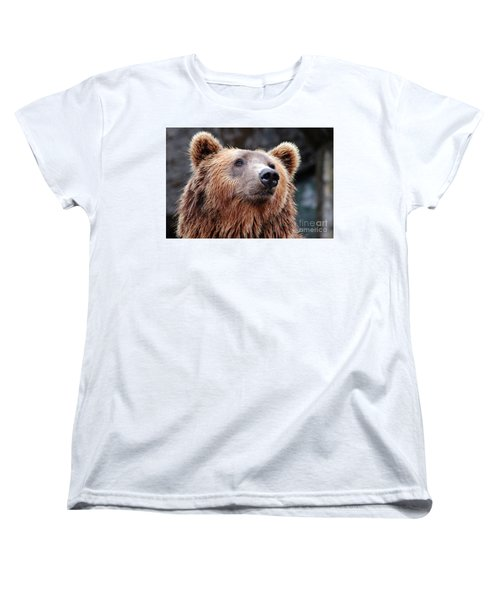 Women's T-Shirt (Standard Cut) featuring the photograph Close Up Bear by MGL Meiklejohn Graphics Licensing