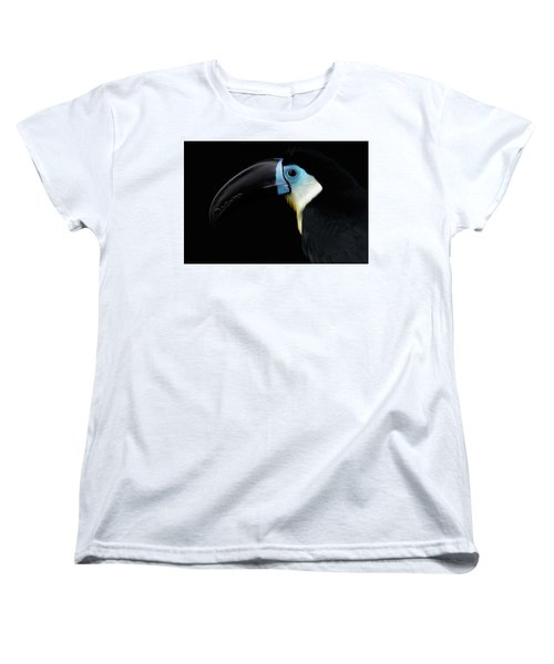Close-up Channel-billed Toucan, Ramphastos Vitellinus, Isolated On Black Women's T-Shirt (Standard Cut) by Sergey Taran
