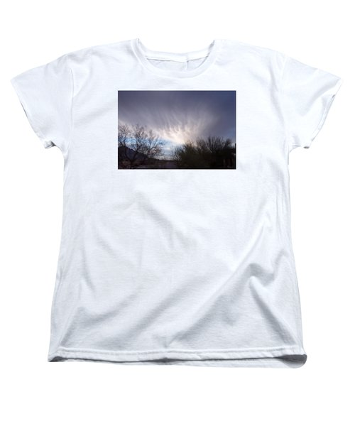 Women's T-Shirt (Standard Cut) featuring the painting Clouds In Desert by Mordecai Colodner