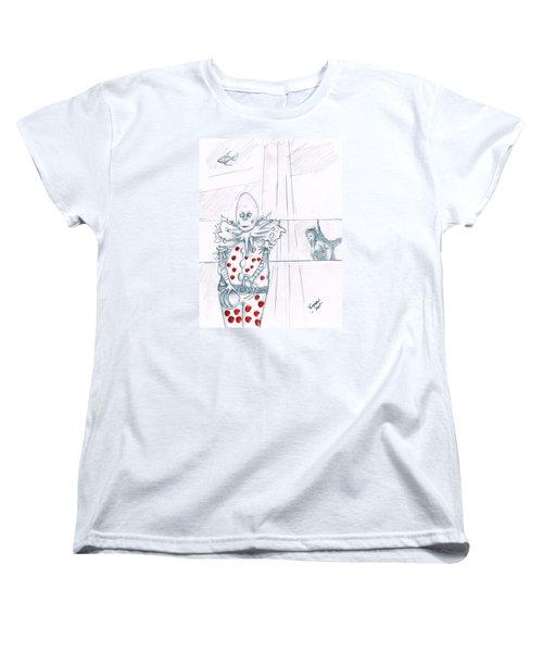 Clown With Crystal Ball And Mermaid Women's T-Shirt (Standard Cut) by Dan Twyman