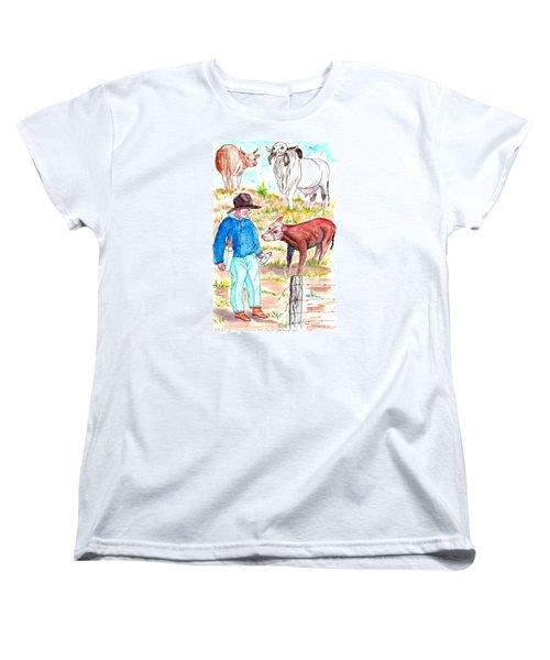 Coaxing The Herd Home Women's T-Shirt (Standard Cut) by Philip Bracco