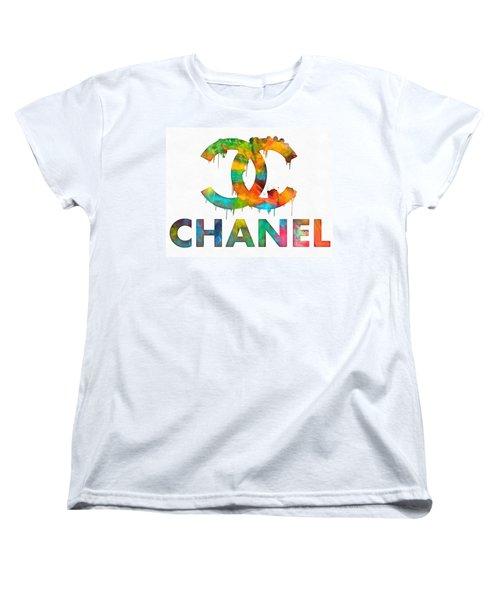 Coco Chanel Paint Splatter Color Women's T-Shirt (Standard Cut) by Dan Sproul