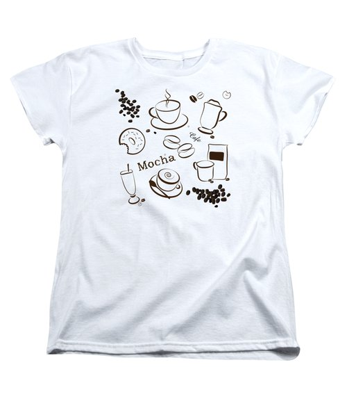 Coffee And Cafe Background Women's T-Shirt (Standard Cut) by Serena King