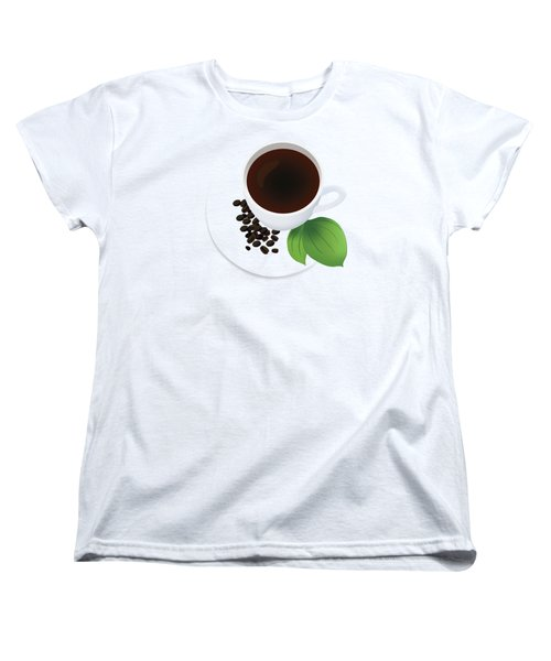 Coffee Cup On Saucer With Beans Women's T-Shirt (Standard Cut) by Serena King