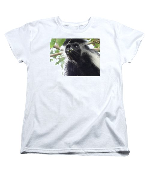 Colobus Monkey Eating Leaves In A Tree 2 Women's T-Shirt (Standard Fit)