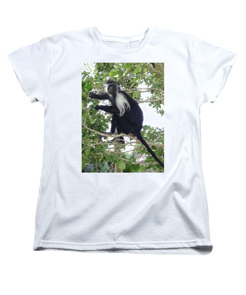 Colobus Monkey Eating Leaves In A Tree Women's T-Shirt (Standard Fit)