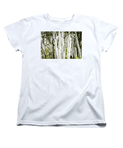 Women's T-Shirt (Standard Cut) featuring the photograph Colorado Aspens by Dawn Romine