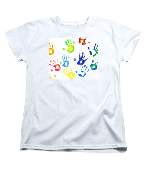 Women's T-Shirt (Standard Cut) featuring the photograph Colorful Arm Prints Abstract by Jenny Rainbow