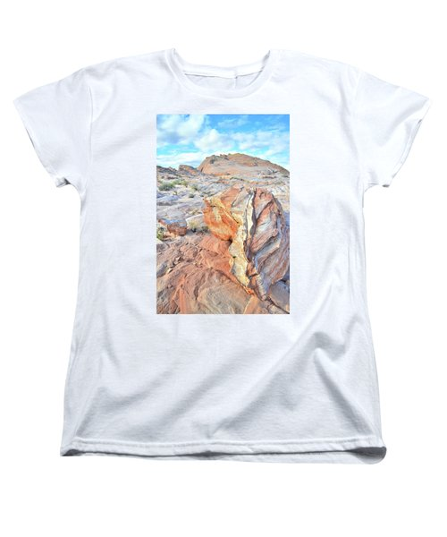 Colorful Boulder At Valley Of Fire Women's T-Shirt (Standard Cut) by Ray Mathis