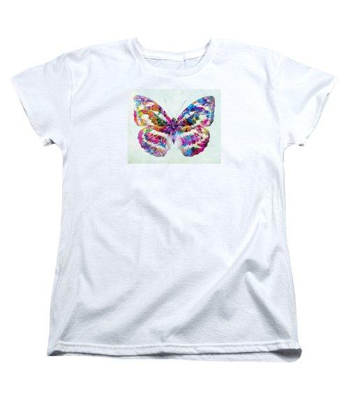 Colorful Butterfly Art Women's T-Shirt (Standard Cut) by Olga Hamilton
