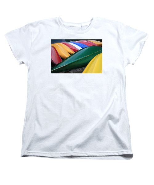 Colorful Canoes Women's T-Shirt (Standard Cut) by Catherine Alfidi