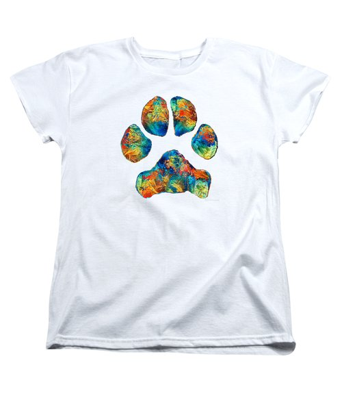Colorful Dog Paw Print By Sharon Cummings Women's T-Shirt (Standard Cut) by Sharon Cummings