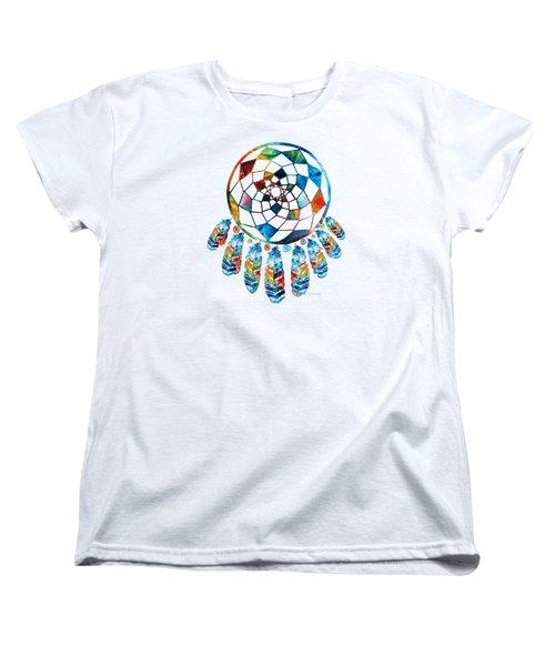 Colorful Dream Catcher By Sharon Cummings Women's T-Shirt (Standard Cut) by Sharon Cummings