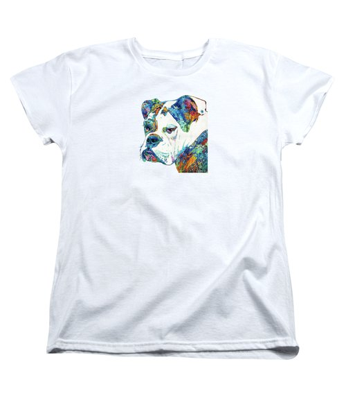 Women's T-Shirt (Standard Cut) featuring the painting Colorful English Bulldog Art By Sharon Cummings by Sharon Cummings