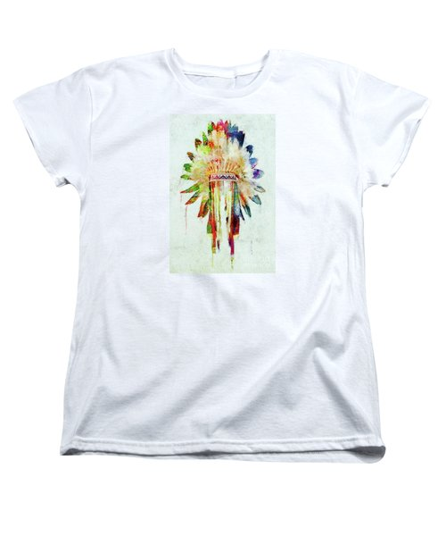 Colorful Lakota Sioux Headdress Women's T-Shirt (Standard Cut) by Olga Hamilton