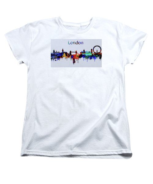 Colorful London Skyline Silhouette Women's T-Shirt (Standard Cut)