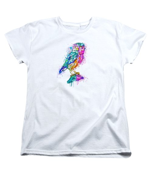 Colorful Owl Women's T-Shirt (Standard Cut) by Marian Voicu