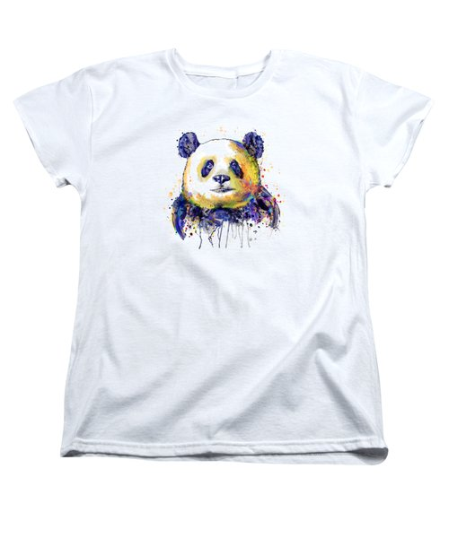Women's T-Shirt (Standard Cut) featuring the mixed media Colorful Panda Head by Marian Voicu