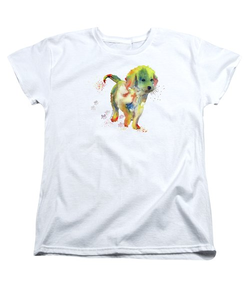 Colorful Puppy Watercolor - Little Friend Women's T-Shirt (Standard Cut) by Melly Terpening