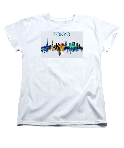 Colorful Tokyo Skyline Silhouette Women's T-Shirt (Standard Cut) by Dan Sproul
