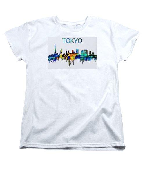 Colorful Tokyo Skyline Silhouette Women's T-Shirt (Standard Cut)