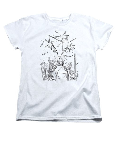 Coloring Page With Beautiful City Martini Drawing By Megan Duncanson Women's T-Shirt (Standard Cut) by Megan Duncanson