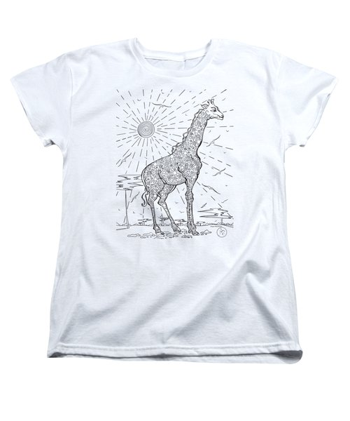 Coloring Page With Beautiful Giraffe Drawing By Megan Duncanson Women's T-Shirt (Standard Cut) by Megan Duncanson