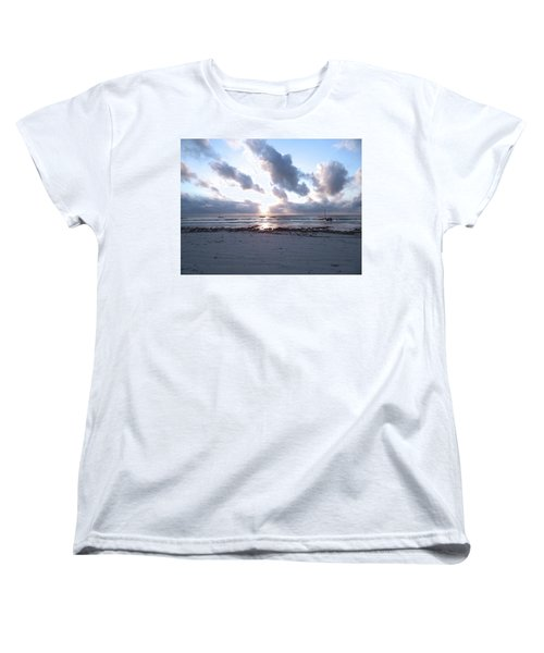 Coloured Sky - Sun Rays And Wooden Dhows Women's T-Shirt (Standard Fit)