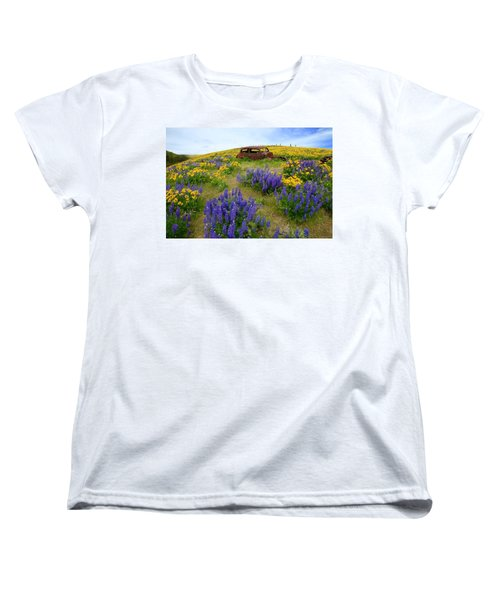 Columbia Hills Wildflowers Women's T-Shirt (Standard Cut) by Lynn Hopwood